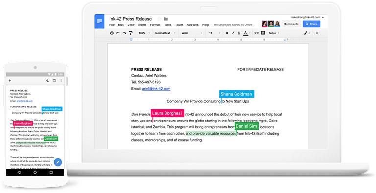 無須安裝與更新,更不需要額外購買授權的Google版Office文書工具