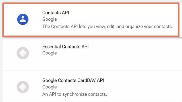 點選Contacts API,進入頁面後點選「啟用」