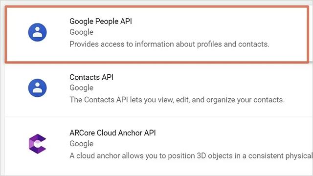 點選Google People API,進入頁面後點選「啟用」